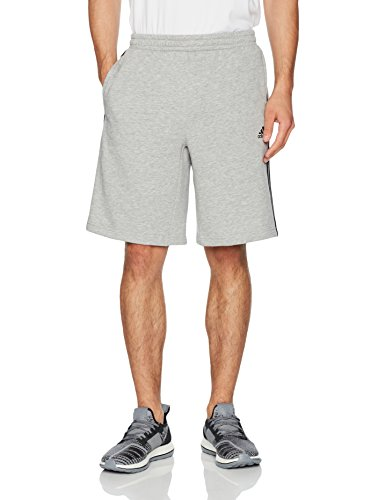 adidas Mens Athletics Essential Cotton Shorts, Medium Grey Heather/Black, Small