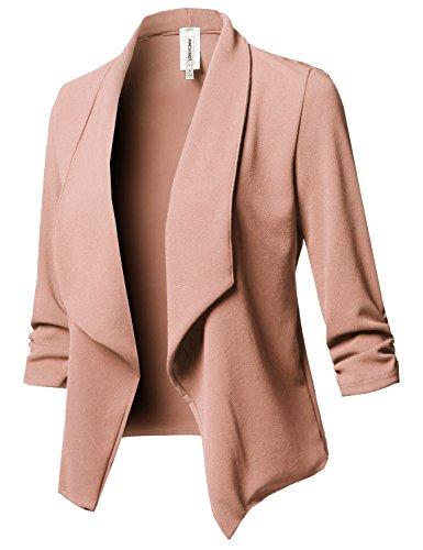 Stretch 3/4 Gathered Sleeve Open Blazer Jacket Lightpink S