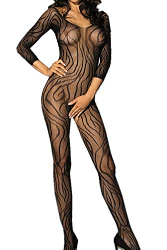 U-Story Womens Sexy Sheer Crotchless Zebra Sleeves Bodystocking Nightwear Lingerie