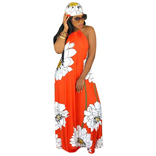 QIQIU New Womens Sexy Strapless Halterneck Backless Fashion Lotus Print Long Boho Dress with Headscarf Orange