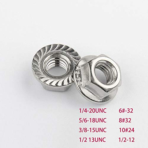 304 Stainless Serrated Flange Nuts A2-70 M3//4//5//6.18 DIN6923 10pcs M8
