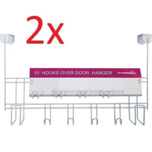 2 X OVER THE DOOR 10 HOOKS WHITE WASH ROOM COAT HANGER CLOTHES TOWEL STORAGE PRIMA