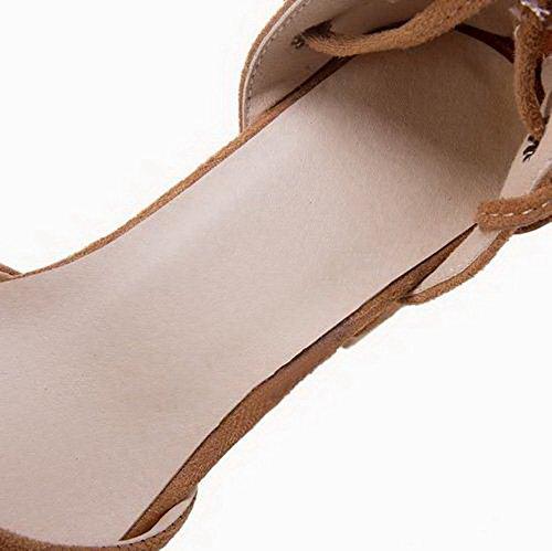Lacet Brun Femme Sandales à TSFLH006538 Couleur Unie AalarDom Correct Talon 4YR7zvRqwa