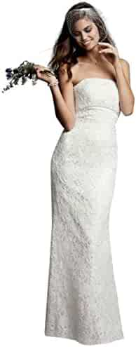 6a2d01248144 David's Bridal Sample: Allover Beaded Lace Sheath Gown with Empire Waist.  Style AI16020040