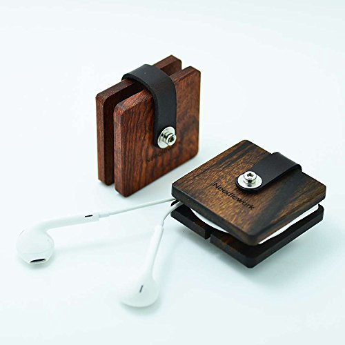 Beschan Handmade Genuine Leather Square Wood Cable Organizer