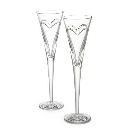 Waterford Fine Crystal Love and Romance Pair of Champagne Flutes with Hearts