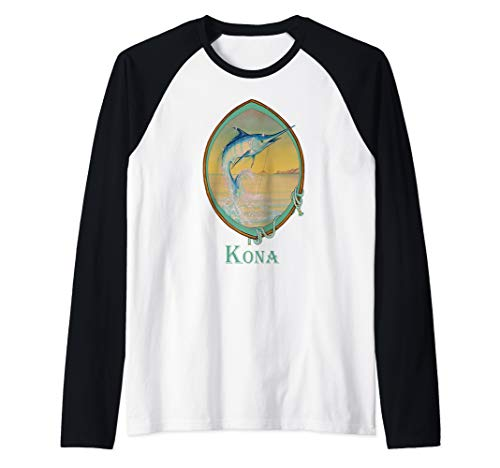 - Kona, Hawaii Blue Marlin Fisherman's Vacation Trip Raglan Baseball Tee