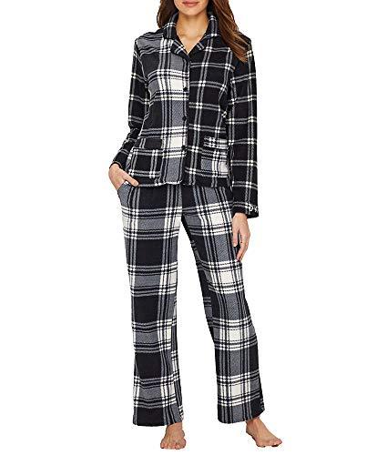 Dkny Top Pajama (DKNY Fleece Pajama Set, S, Black Plaid)
