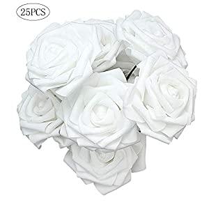 Foam Rose Flower Artificial Rose Flowers for DIY Wedding Home Decoration Festive Party Supplies White 25Pcs 61