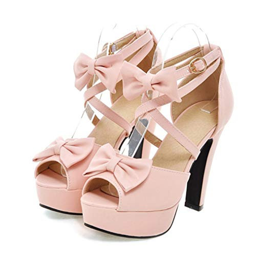 T-JULY Platform Women Sandals PU Leather High Square Cover Heel Casual Party Bowtie Ankle Strap Lady Peep-Toe Shoes Pink ()