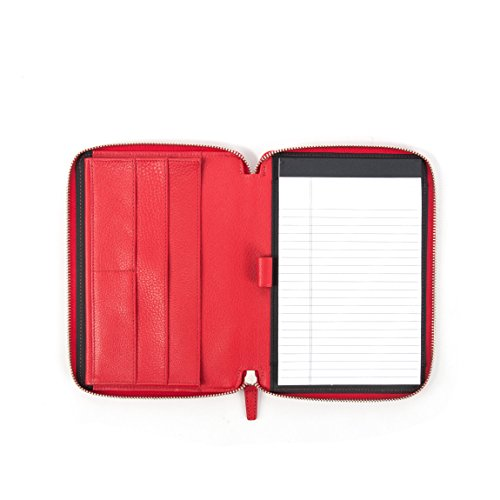 Leather Zippered Junior Writing Pad (Leatherology Junior Zippered Portfolio with Pen Loop - Full Grain Leather Leather - Scarlet (red))