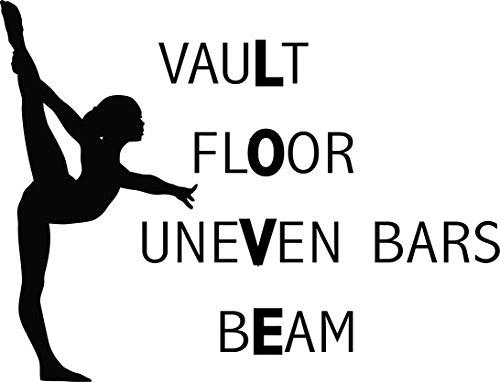 Vinyl Wall Decal: Gymnastics Love Wall Decal Decoration - Vault, Floor, Uneven Bars, Beam - Kid's Gymnast Vinyl Sticker/Bedroom Decor - 20