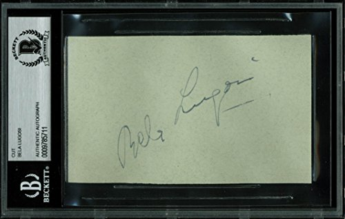 Bela Lugosi Dracula Authentic Signed 3×5 Cut Signature Autographed BAS Slabbed