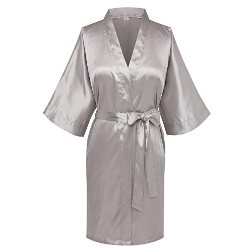 (Goodmansam Women's Simplicity Stlye Bridesmaid Wedding Party Kimono Robes Short, Light Gray4, XX-Large)