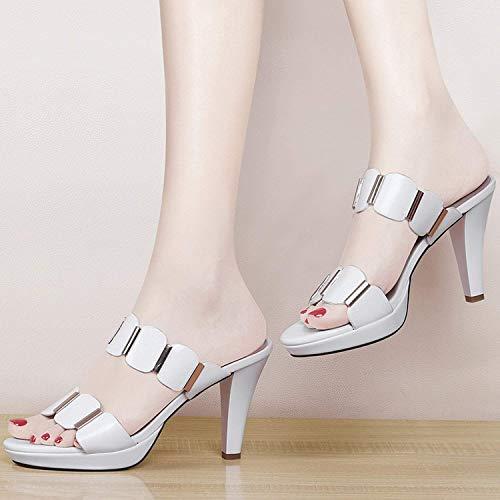 Oudan blanc pantoufles des Fine 48 des avec couleur talons taille femmes hauts blanc pour rqrxZRw