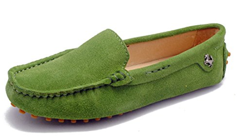 Walking Womens Running Slip Light Leather On Boat TDA Comfortable Trail Driving Shoes Green Flats FaIqCxC
