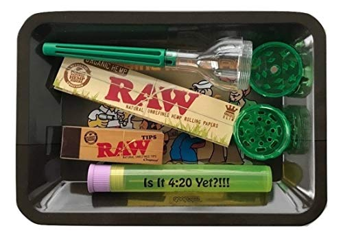RAW Cone Roller Grinder Kit RAW Organic King Size Papers RAW Tips Doob Tube