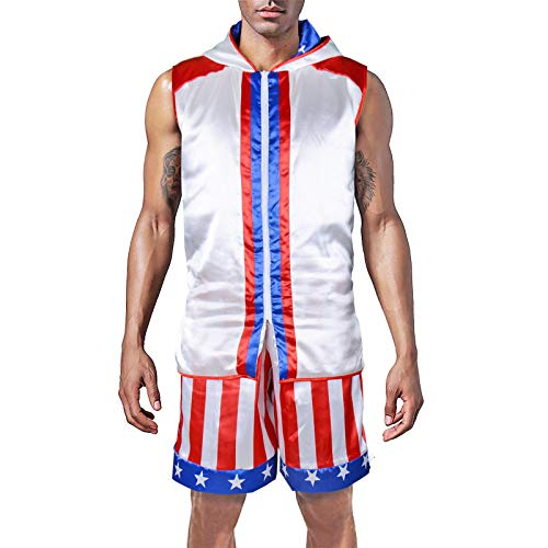 Classic Movie Boxing Costumes Sleeveless Zip-up Vest Tank Hoodies Jacket Apollo American Flag Shorts Trunks Suits Men/Boys (Tops+Shorts, Adult-S) -