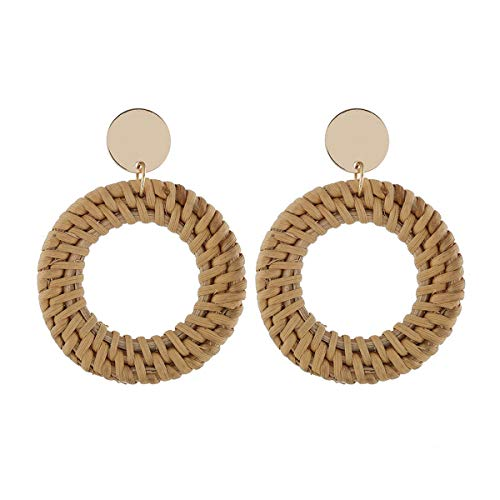 Dangle Hoop Earrings, Handmade Rattan Geometric Statement Stainless Steel Earrings for Women Girls Boho Prom Wedding Party -