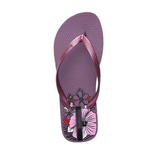 Yiiquan Damen Drucken mit Flach Niedrig Keil Sommer Beach Evening Zehensteg Flip Flops Schuhe Sandalen Aprikose 39 1kYXRqIF