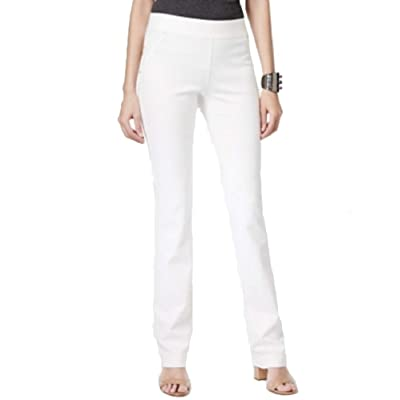 I.N.C. International Concepts Women's Petite Pull-On Straight-Leg Pants (Washed White, 0P) at Women's Clothing store