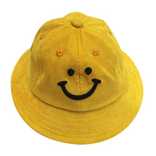 Smiley Face Embroideried Fisherman Bucket Hat,Crytech Fashion Hipster Plain Packable Uv Protection Fishing Sun Cap Casual Wild Solid Outdoor Travel Visor for Couples Teens Boy and Girl (Yellow)