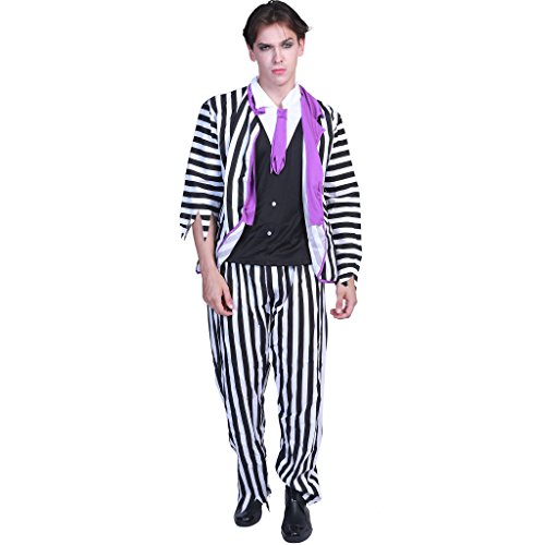 EraSpooky Adult Ghost Halloween Striped Suit Costume]()