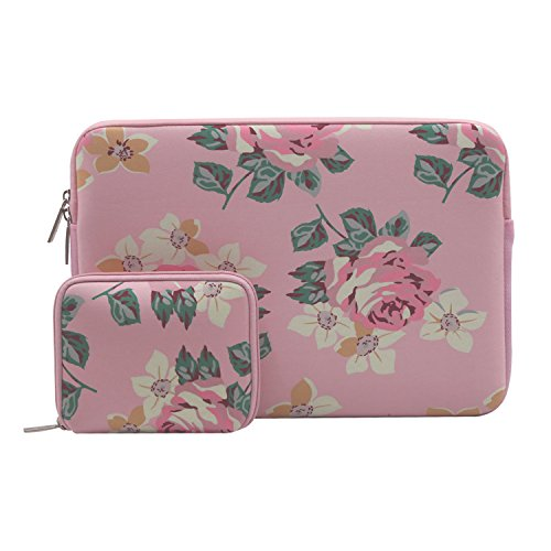 Mosiso Laptop Sleeve for 13-13.3 Inch MacBook Pro, MacBook Air, Notebook with Small Case, Water Repellent Lycra Rose Pattern Protective Carrying Bag Cover, Pink