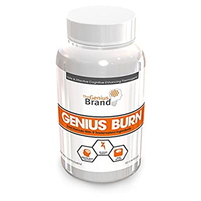 Genius Burn – 2-In-1 Focus Enhancing Thermogenic Fat Burner, Caffeine Free Nootropic Weight Loss Supplement, Natural Energy, Memory and Brain Boost with 9 Clinically Validated Ingredients, 60 V-Caps