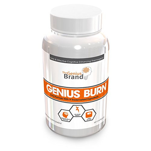 GENIUS BURN – Nootropic Caffeine Free Thermogenic Weight Loss Supplement, All Natural Green Tea Fat Burner, Focus Booster and Appetite Suppressant with Ashwagandha and TeaCrine, 60 Veggies Capsules