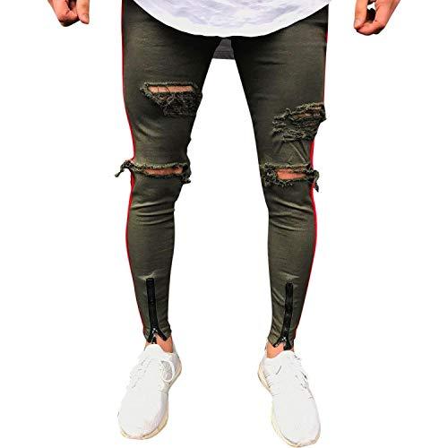Denim Jeans Skinny Invecchiato Pantaloni Uomo Legging Grün Slim Fori Strappato Da Con Hip Chern Fit Effetto Casuali Moto Abbigliamento Hop Elasticizzati Vintage qHtrqn