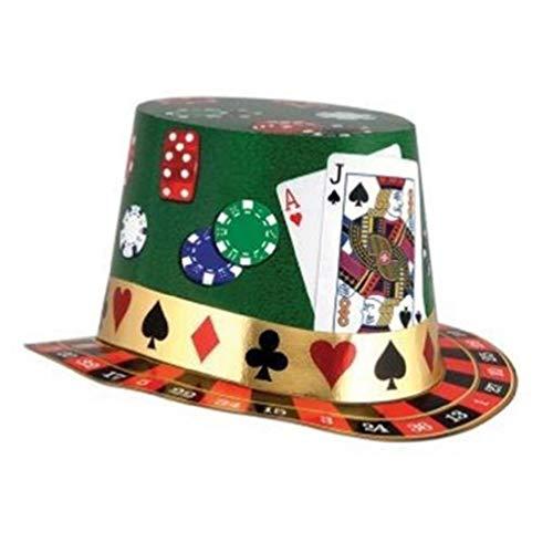 hersrfv home Casino Night Hi Hat Paper Top Hat Casino Vegas Gambling Party Accessory