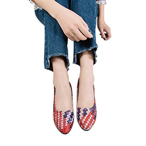 Women Flats Boat Shoes Office Wedges Sandals Pointed Toe Low Heel Shoes Hemlock (US:8, Red)