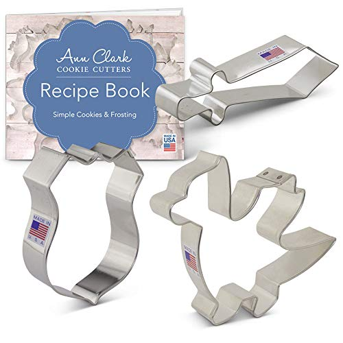 Dragon Knight Cookie Cutter Set with Recipe Booklet - 3 piece - Dragon, Sword and Shield - Ann Clark - USA Made Steel