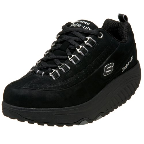 Skechers Women's Shape Ups Optimize Fitness Walking Shoe - Black Nubuck - 10 M US