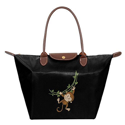 Folding Dumpling Bag Top Handle Handbag Women's Satchel Shoulder Shopping Gripesack Playing Monkey Nylon (Sock Monkey Halloween Makeup)