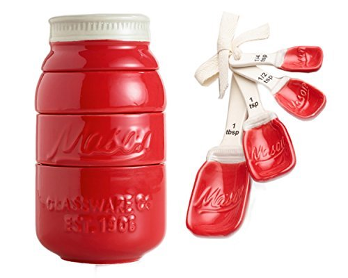 Red Mason Jar Ceramic Measuring Cups and Measuring Spoons