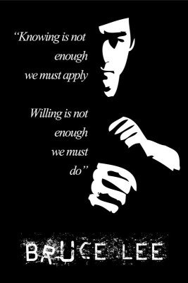 bruce lee motivational quotes knowing is not enough poster paper