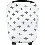 """Baby Car Seat Cover Canopy and Nursing Cover Multi-Use Stretchy 5 in 1 Gift """"The Swiss"""" by Copper Pearl"""