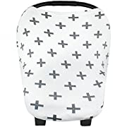 Baby Car Seat Cover Canopy and Nursing Cover Multi-Use Stretchy 5 in 1 Gift  The Swiss  by Copper Pearl