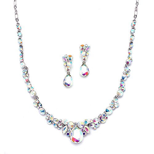 Mariell Glistening Iridescent AB Crystal Necklace and Earring Set for Prom, Bridesmaid & Wedding (Aurora Borealis Austrian Crystal)