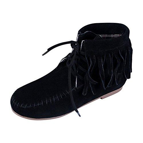 Suédine Ville Classique Confort Courtes Automne Black Chaussure Boots Plates Bottes Bottine Lacets Frange Frestepvie Femme Hiver Pqat7Ow