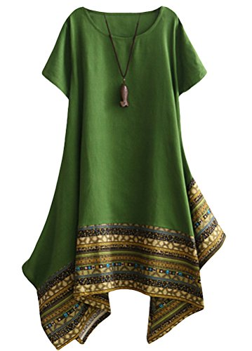 - Minibee Women's Ethnic Cotton Linen Short Sleeves Irregular Tunic Dress (M, Green)