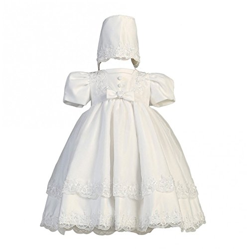 White Satin Christening Baptism Dress with Organza Overlay and Matching Bonnet - M (6-9 Month) by lito