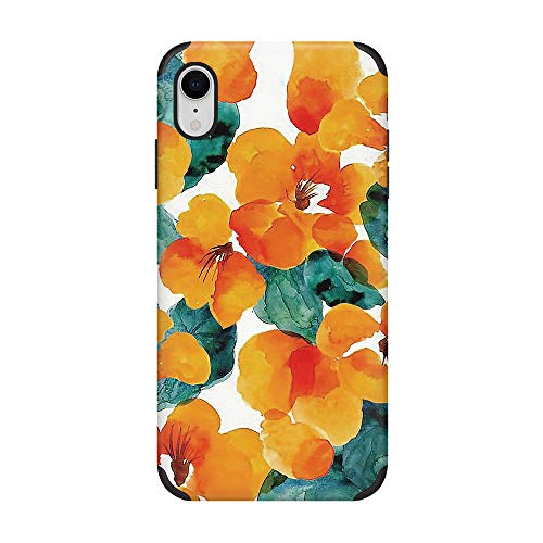 CUSTYPE iPhone XR Case, Leather Print Floral Pattern Design Phone Case, Ultra Slim, Anti-Slip, Shockproof Back Cover Case Compatible with iPhone XR 6.1 inch(Orange - Floral Leather Print