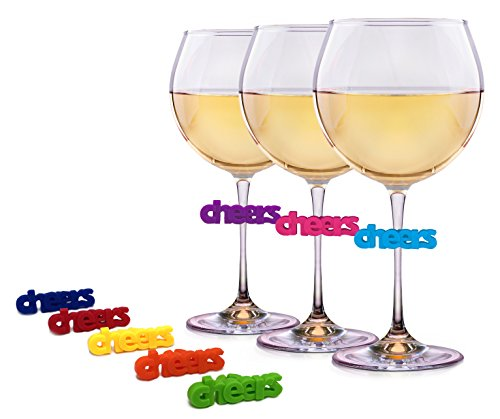 Wine Charms for Glasses - 8 Unique Silicone Cheers Drink Markers or Tags - Perfect for Wine, Martini, Margarita, and Champagne Glasses by Simply Charmed