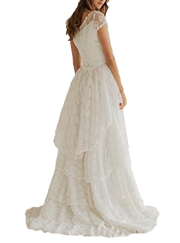 2016 TieRot Wedding Women's Scoop Bridal Kleides Fanciest Sleeve Kleid White Spitzen Kurz qI8wxnAHS
