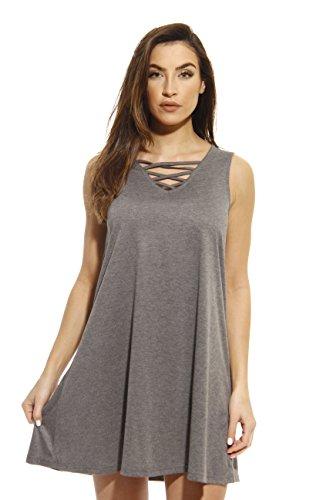 Just Love 401503-CHR-S Summer Dresses/Short Dress Heathered Charcoal