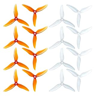 "16pcs GEMFAN Hurricane 51499 5 Inch Propeller 3-Blades Props CW CCW 5"" Tri-Blade Propeller Best Match for 210 220 250 FPV Racing Drone Quadcopter Frame Kit (Clear Whisky + Clear)"