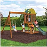 Ready to Assemble Wooden Swing Set. Cedar Wood Swingset, Climbing Wall and Sand Box. Wood Swing Set SALE !!!! 2 Swings, Chalk Wall and More. Heavy Duty Wooden Swing Set includes 10YR Warranty.